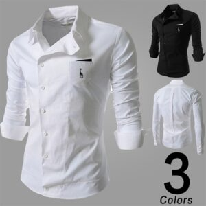 Coolred-Men Casual Fashion Losse Solid Colored Mandarin Collar Longshirt