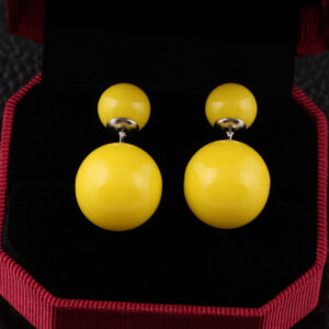 9-10 mm Natural Grey Sea Freshwater Pearl 18KG Stud Earrings