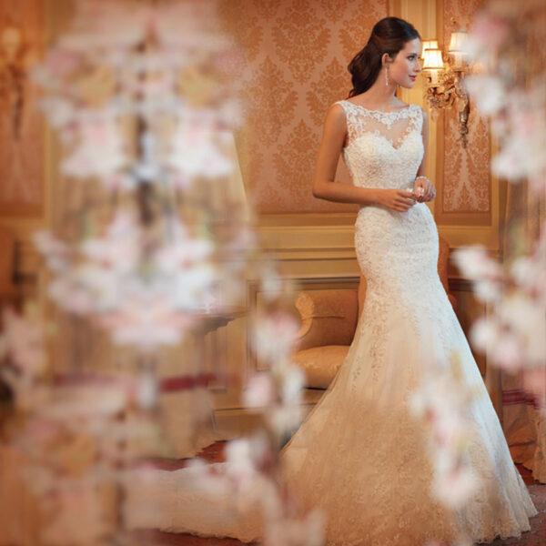 New Mermaid White//Ivory Lace Wedding Dress Bridal Gown Size 4-6-8-10-12-14-16-18