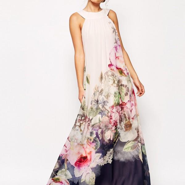 Summer Style Floral Print Maxi Dresses Women Beach Club