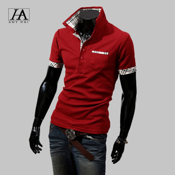 cbde38b405613 Camisas Polo For Men Plaid Classic Solid T Shirt Men Polo Shirts Short Sleeve  Turn-Down Collar ...