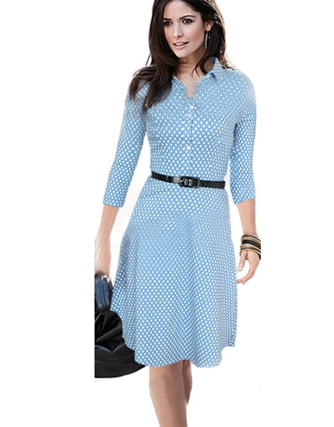 Clic American Style Polka Dot Print Pleated Blue Dress Long
