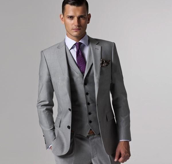 Custom Made Slim Fit Two Buttons Grey Groom Tuxedos Notch Lapel Best Man  Groomsmen Men Wedding  5147Lucas 94b2ebfc6a0d