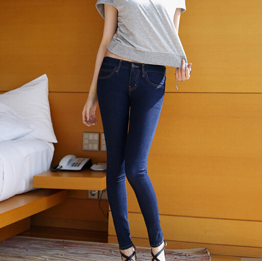 a7b9a7338d9  Dk Jeans  Ladies And Blue Black Stretch Jeans Feet Pants Two Slim Skinny  Jeans-Rok Trousers ...