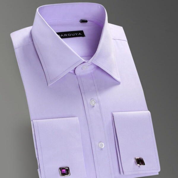High quality mens luxury french cuff button dress shirts for Pin collar shirt double cuff