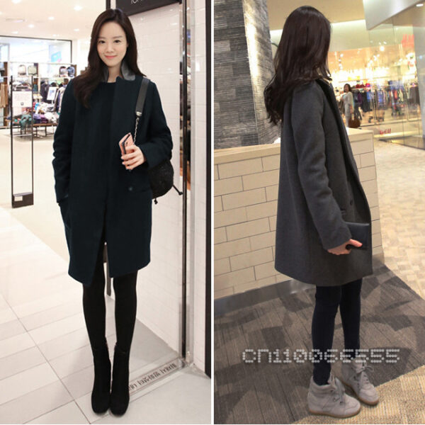 New Fashion Women Lady Long Sleeve Deep V Lapel Neck Autumn Winter Long Coat Wool Blend Jacket