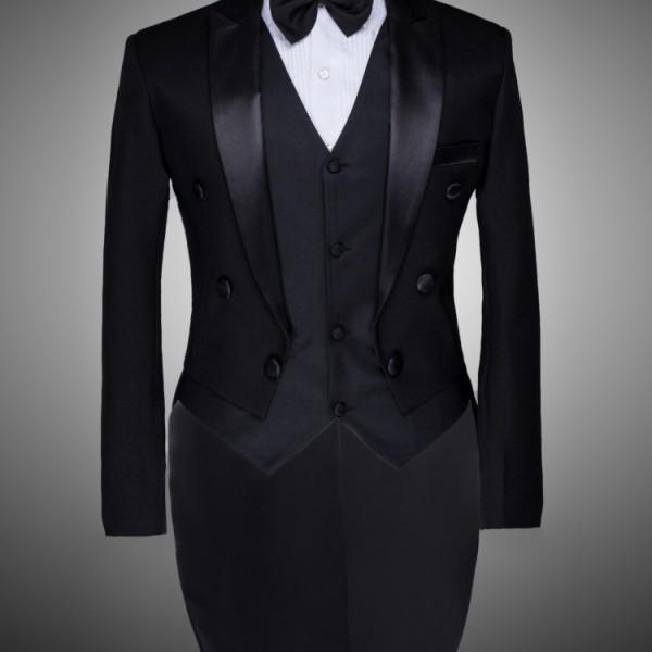 Male Custom Groom Prom Suit Mens Tuxedo Black And White