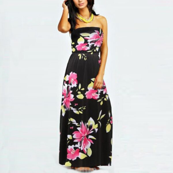 4265e25942d New Stylish Summer Women Sexy Strapless Long Maxi Dresses Floral ...