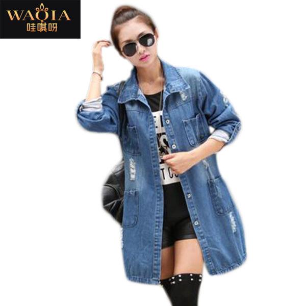 a808fa00855 Plus Size Fashion Spring Autumn Women s Clothing Casual High Street Denim  Jacket Long Loose Holes  1241Harper