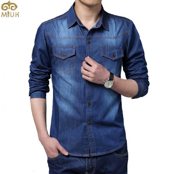 bce06fd40efb Big Size Men Shirt Denim Large Size 5Xl Cotton Turn-Down Collar Pockets Men  Shirts New Autumn Long  6340Ryan
