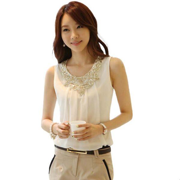 fc7a26adefc Blusas Femininas Sleeveless Chiffon Summer Tops Loose White Blouse Shirt  Women ...