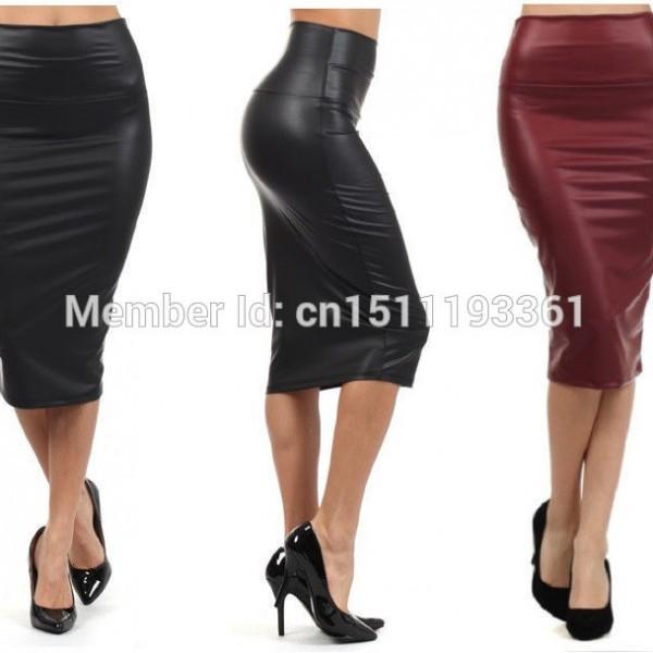 plus size high waist faux leather pencil skirt black