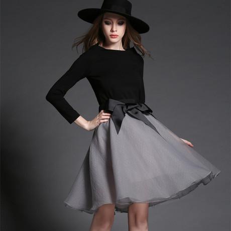 Spring 2 Piece Set Women Skirt Top Fashion Slash Collar Black ...