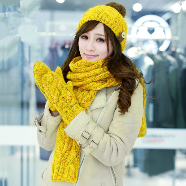 8ce235fe990ea8 New Autumn And Winter Hat Scarf Gloves Mittens Sets Female Winter Knitted  Warm ...